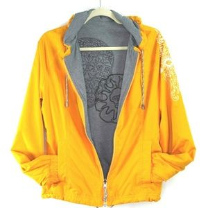 Harley Davidson Sz M Gray Yellow Reversible Jacket